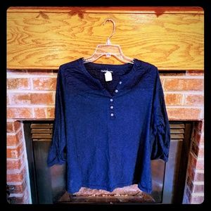 Croft & Barrow brand navy 3/4 top size 1x